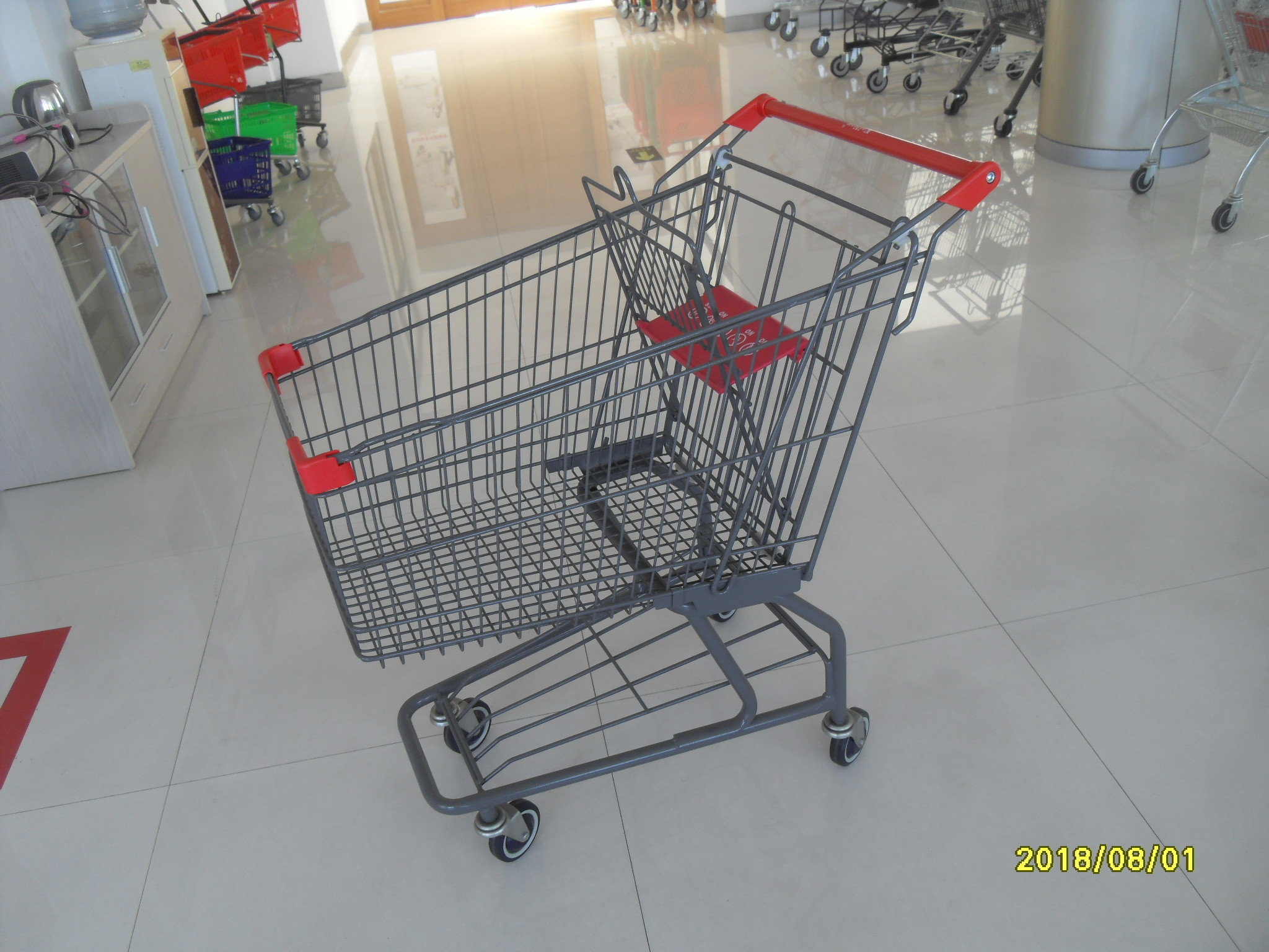 Custom Logo Grocery Shopping Trolley For Metallic Distribute Store 125L